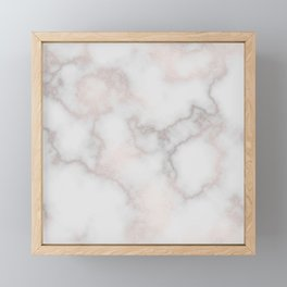 Elegant blush tones pink rose gold white marble Framed Mini Art Print