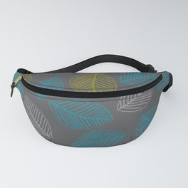 Mid Century Modern Falling Leaves Turquoise Chartreuse Gray Fanny Pack