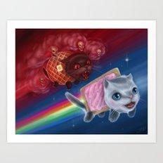Pop-Tart Cat vs. Waffle Cat Art Print