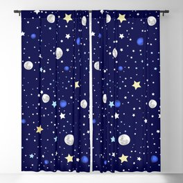 Universe pattern; Moon, Stars and Neptune Blackout Curtain