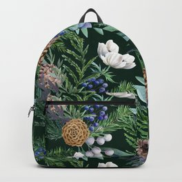 Dark green winter bouquet Backpack