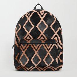 Copper & Black Geo Diamonds Backpack