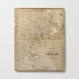 Map Of Orillia 1850 Metal Print