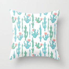 Cactus Flower Print Throw Pillow