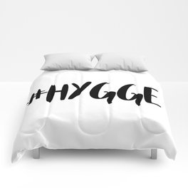 #hygge - scandi quote trend hashtag Comforters