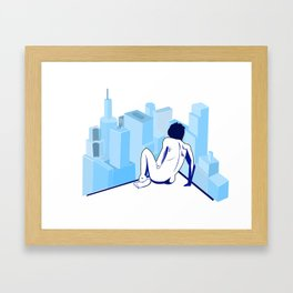 Me against the city Framed Art Print