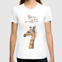 You Are My Sunshine Giraffe Nursery Animals Watercolor Art T-shirt