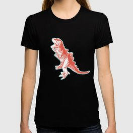 Dino Pop Art - T-Rex - Teal & Dark Orange T-shirt