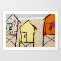 Embroidered Beach huts Art Print