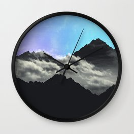 echo mountains Blue Wall Clock