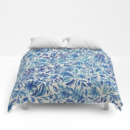 Floating Garden - a watercolor pattern in blue Comforters