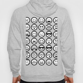 Black and White Emoticons Hoody