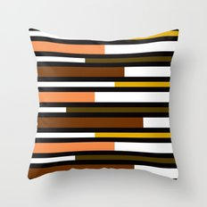Brown, green, yellow & pink stripes Throw Pillow