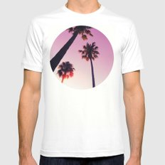 Palm tree Mens Fitted Tee MEDIUM White