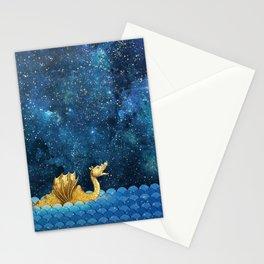 Golden Sea Monster, Loch Ness, Nessy Dragon Dinosaur Stationery Cards