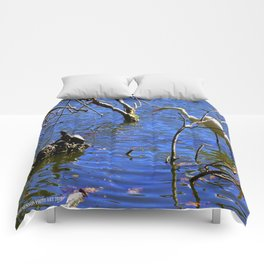 Egret and Turtle: Opposites Attract (Chicago North Pond Collection) Comforters