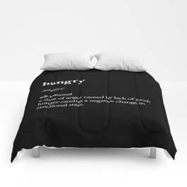 Hangry black-white contemporary minimalism typography design home wall decor bedroom Comforters