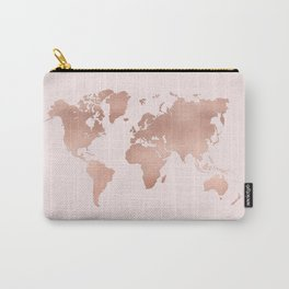 Rose Gold World Map Carry-All Pouch