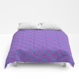 Geometrical abstract pink teal stripes squares pattern Comforters
