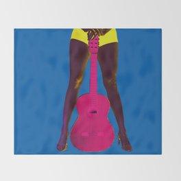 Guitar girl rocks! b Throw Blanket