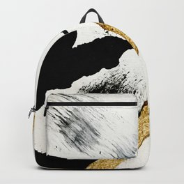 Armor [8]: a minimal abstract piece in black white and gold by Alyssa Hamilton Art Backpack
