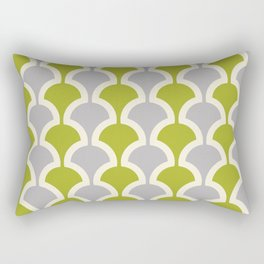 Classic Fan or Scallop Pattern 419 Gray and Olive Green Rectangular Pillow