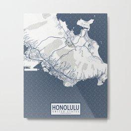 Honolulu City Map of Hawaii, USA - Coastal Metal Print