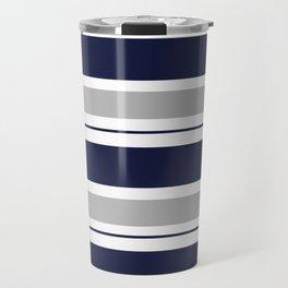 Navy Blue and Grey Stripe Travel Mug