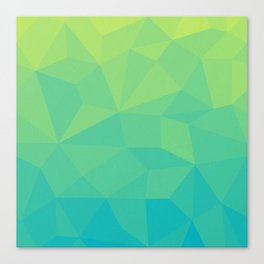 Abstract Geometric Gradient Pattern between Soft Green and Strong Cyan Canvas Print