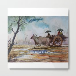 Back to home from work on rainy day - in Watercolor Metal Print