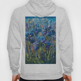 Countryside Irises Oil painting with palette knife Hoody