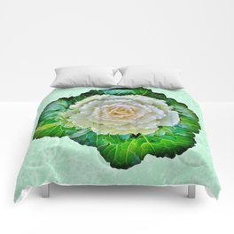 Beige Cabbage from the Garden Comforters