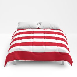 Chinese red - solid color - white stripes pattern Comforters