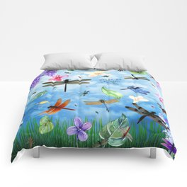 There Be Dragons Whimsical Dragonfly Art Comforters