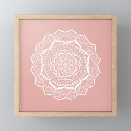 White Flower Mandala on Rose Gold Framed Mini Art Print