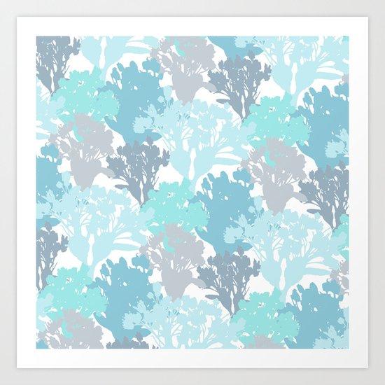 Acer Bouquets - Blues Art Print