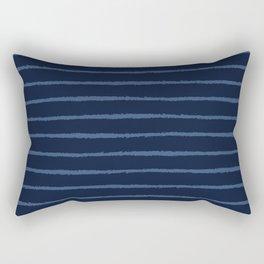 Hand Drawn Stripes Pattern Indigo Blue Grunge Rectangular Pillow