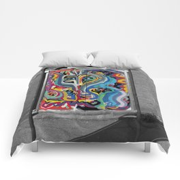 Black and White Street Art Color Photography Poster in Bologna Comforters