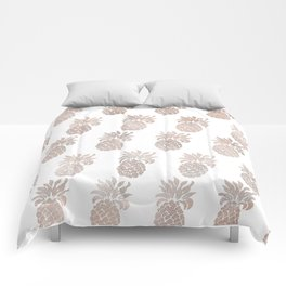 Rose gold pineapples Comforters