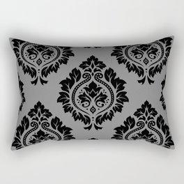 Decorative Damask Pattern Black on Gray Rectangular Pillow