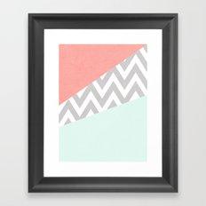 mint & coral chevron block TEXTURIZED Framed Art Print