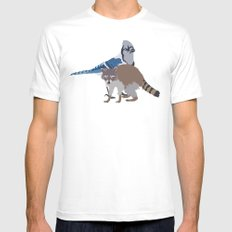 Mordecai and Rigby Mens Fitted Tee White MEDIUM