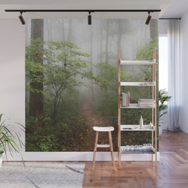 Adventure Ahead - Foggy Forest Digital Nature Photography Wall Mural