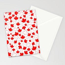 Fun Festive Canada Maple Leaf Red White Random Pattern Stationery Cards