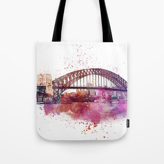 Sydney Harbor Bridge Watercolor Art Tote Bag