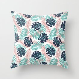 tree leaves #43 Blue and pink Throw Pillow