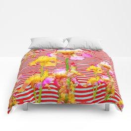 Oriental Red Wave Iris Water Garden Comforters
