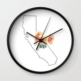 california // watercolor california poppy state flower map Wall Clock