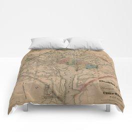 Vintage Washington DC Civil War Defenses Map (1864) Comforters
