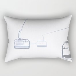 B&W Skilift Poster Rectangular Pillow
